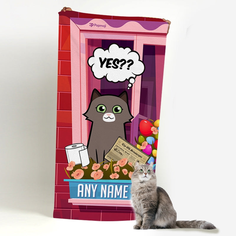 Personalized Cat Toilet Break Beach Towel - Image 3