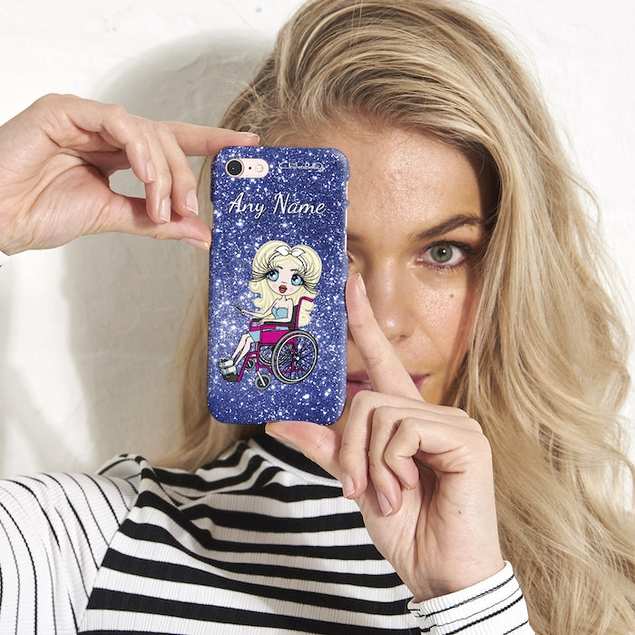ClaireaBella Wheelchair Personalized Glitter Effect Phone Case - Blue - Image 2