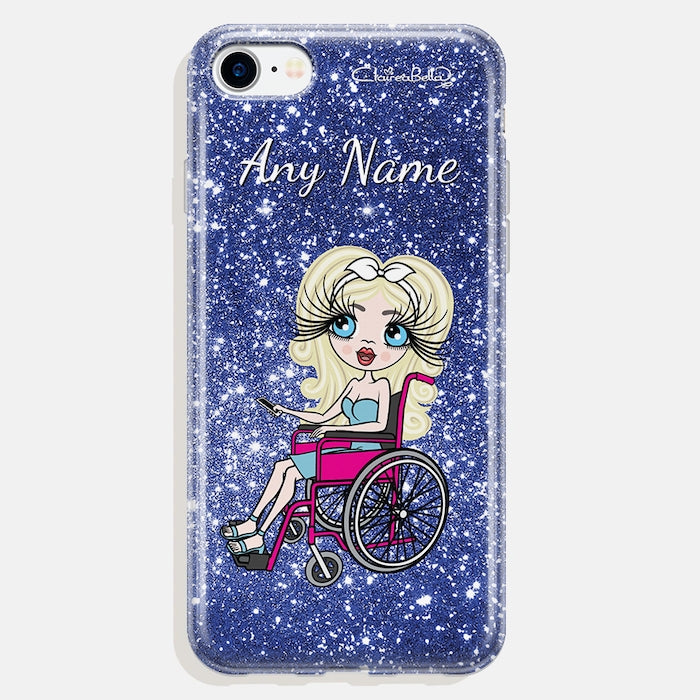 ClaireaBella Wheelchair Personalized Glitter Effect Phone Case - Blue - Image 3