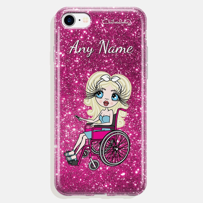 ClaireaBella Wheelchair Personalized Glitter Effect Phone Case - Pink - Image 1