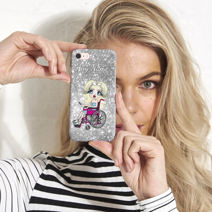 ClaireaBella Wheelchair Personalized Glitter Effect Phone Case - Silver - Image 1
