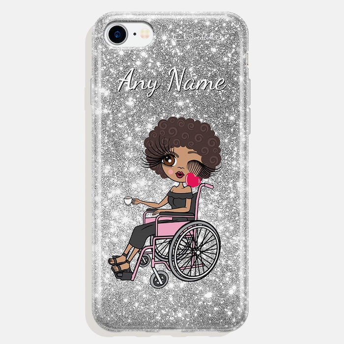 ClaireaBella Wheelchair Personalized Glitter Effect Phone Case - Silver - Image 3