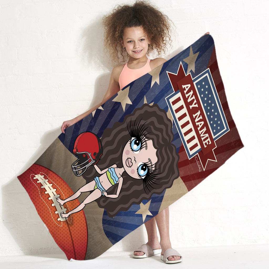 ClaireaBella Girls American Football Beach Towel - Image 1