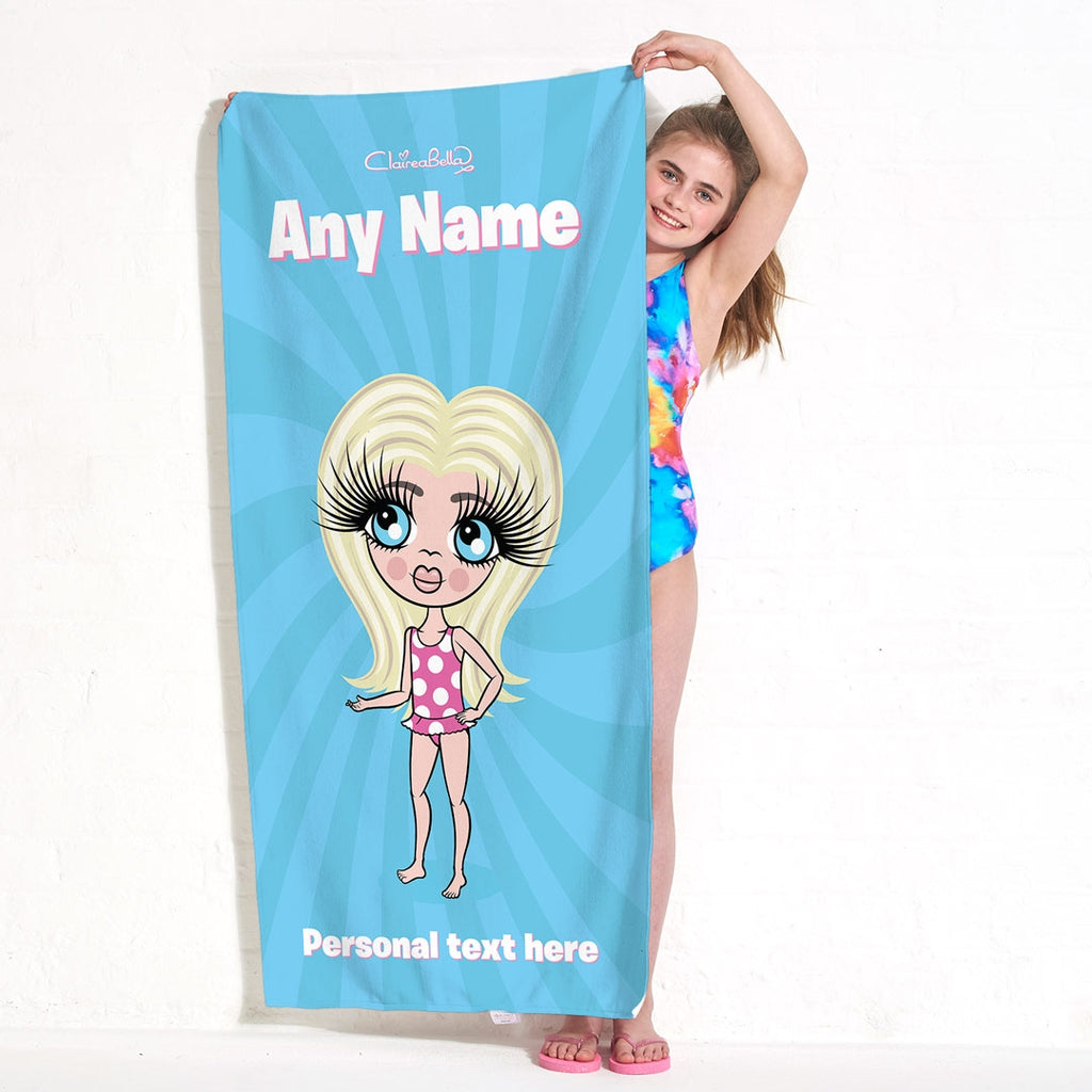 ClaireaBella Girls Blue Beach Towel - Image 3