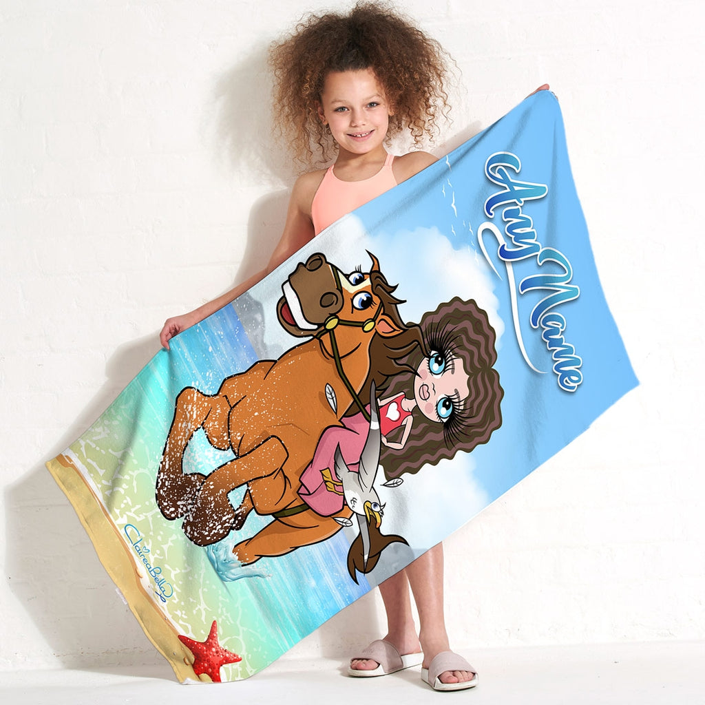 ClaireaBella Girls Horsey Beach Towel - Image 6