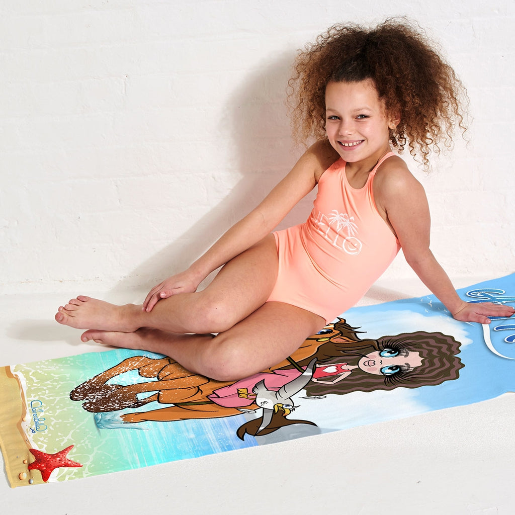 ClaireaBella Girls Horsey Beach Towel - Image 3