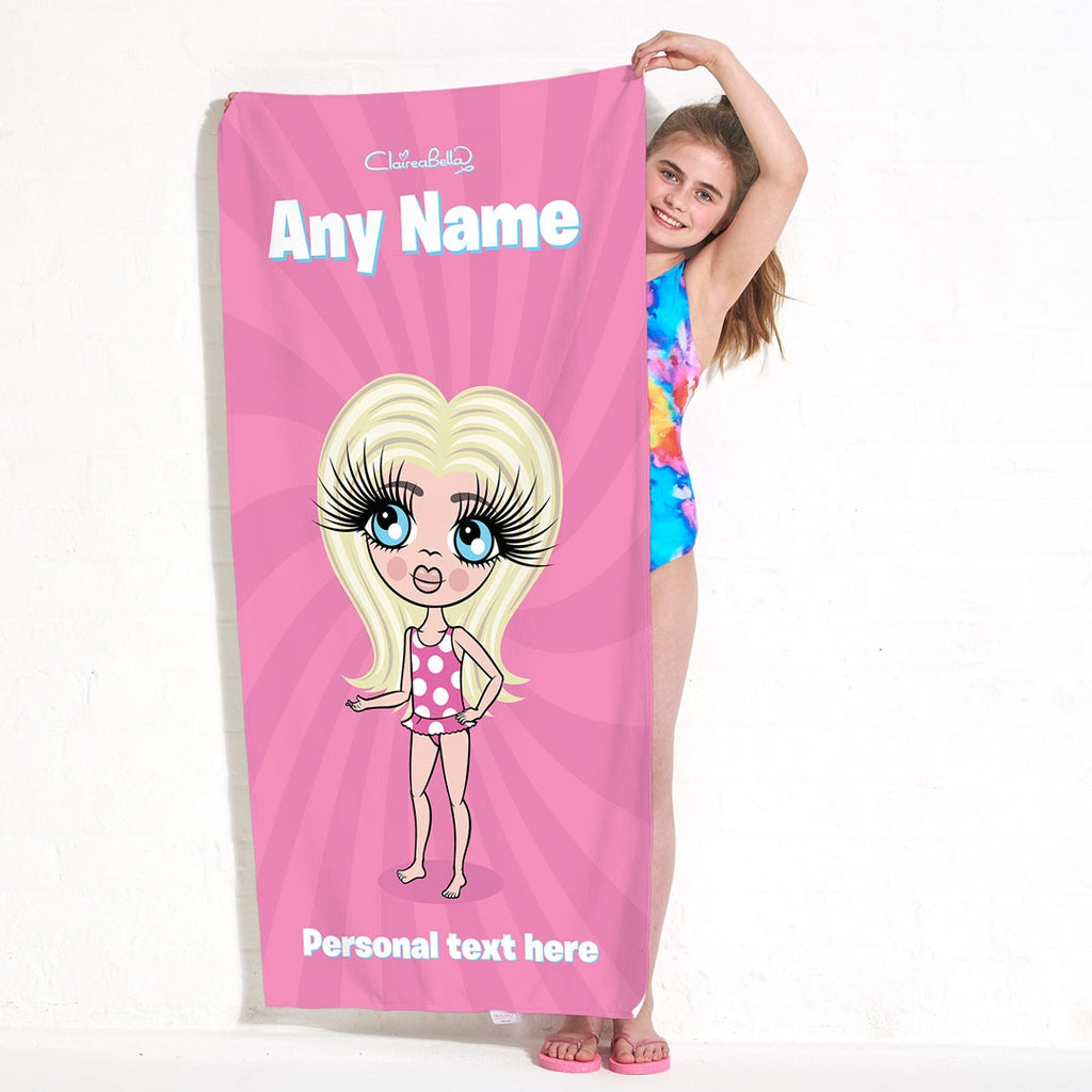ClaireaBella Girls Pink Beach Towel - Image 1