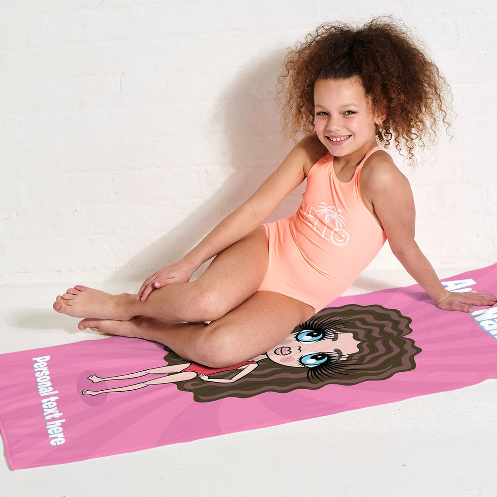 ClaireaBella Girls Pink Beach Towel - Image 3