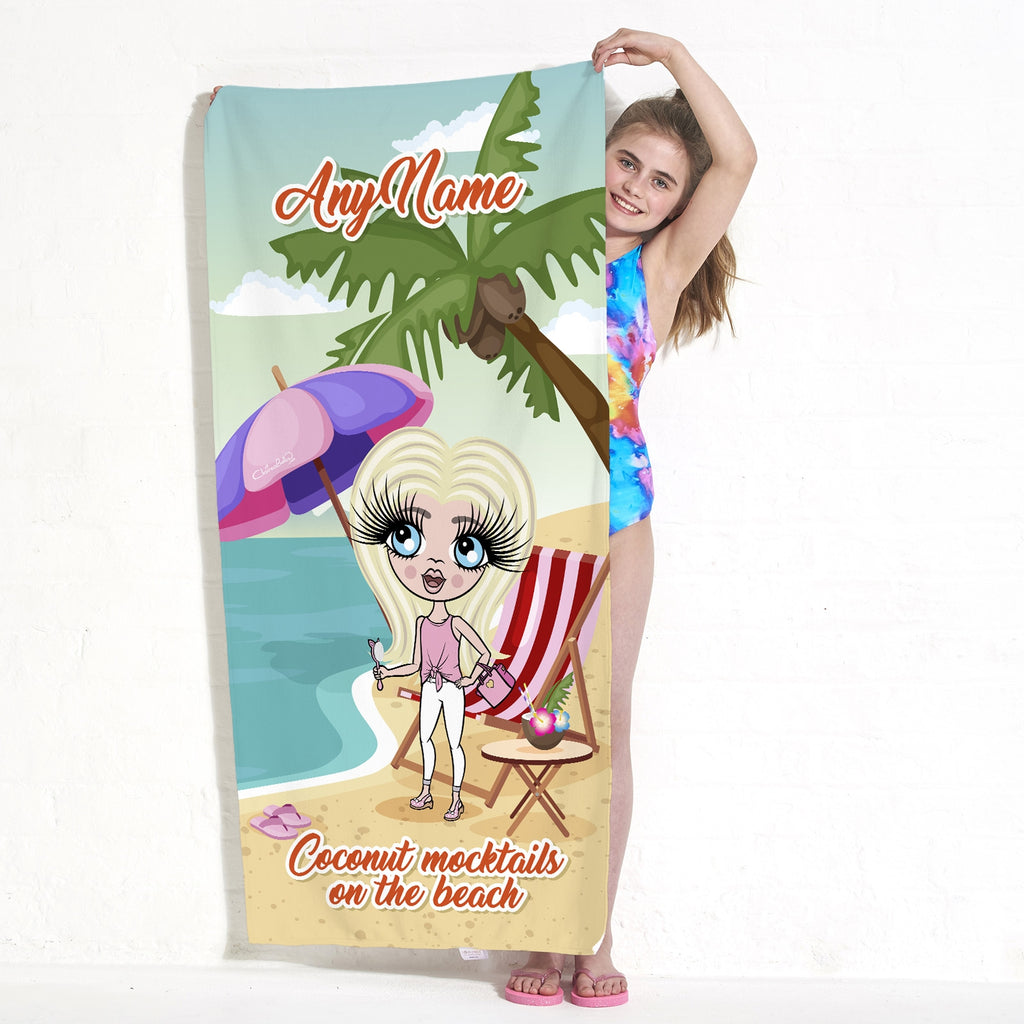 ClaireaBella Girls Coconut Mocktails Beach Towel - Image 2
