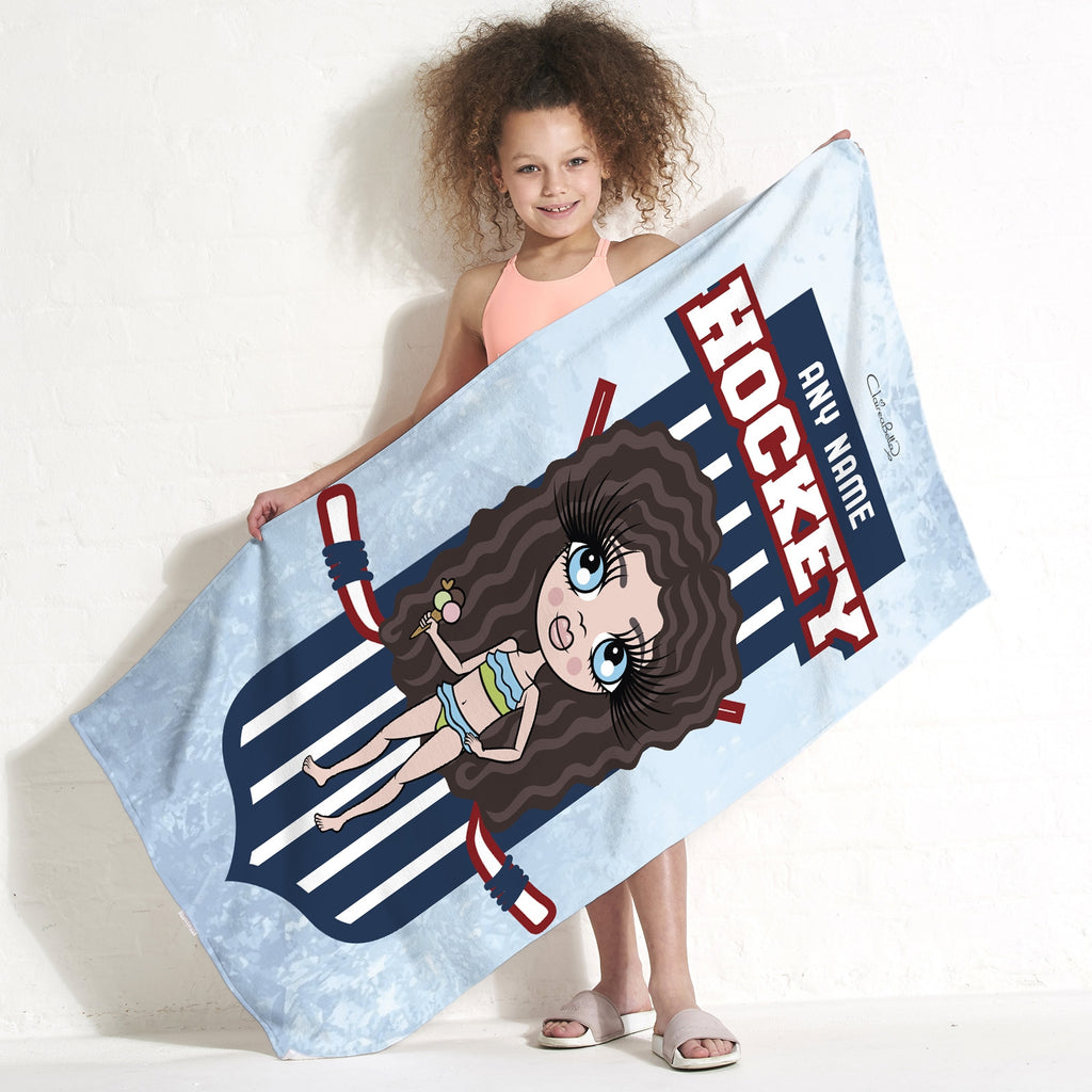 ClaireaBella Girls Ice Hockey Emblem Beach Towel - Image 1