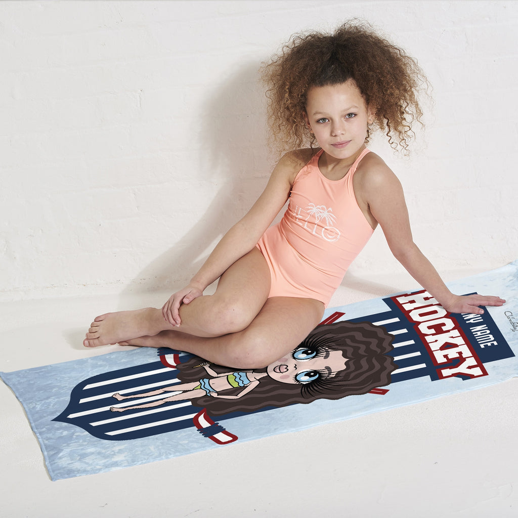 ClaireaBella Girls Ice Hockey Emblem Beach Towel - Image 2