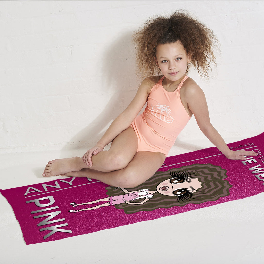 ClaireaBella Girls Pink Wednesdays Beach Towel - Image 3