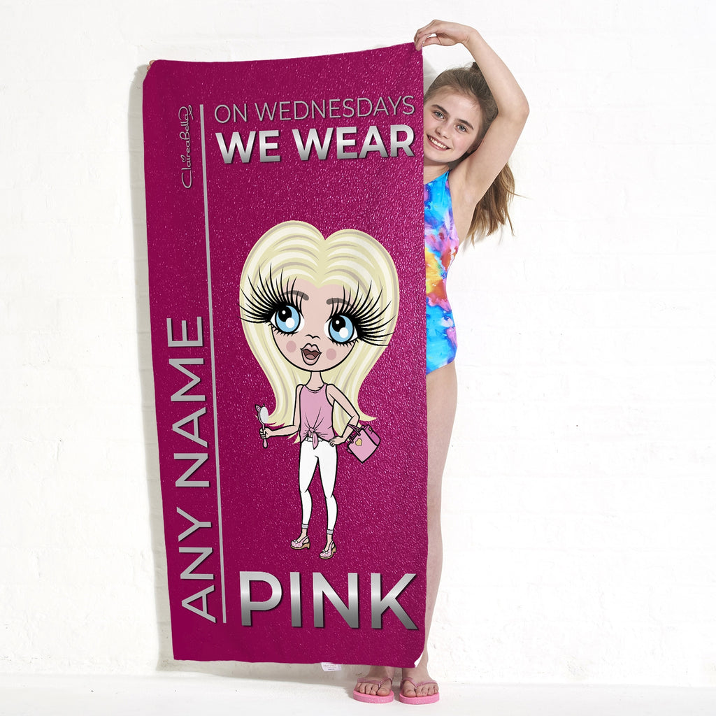 ClaireaBella Girls Pink Wednesdays Beach Towel - Image 5