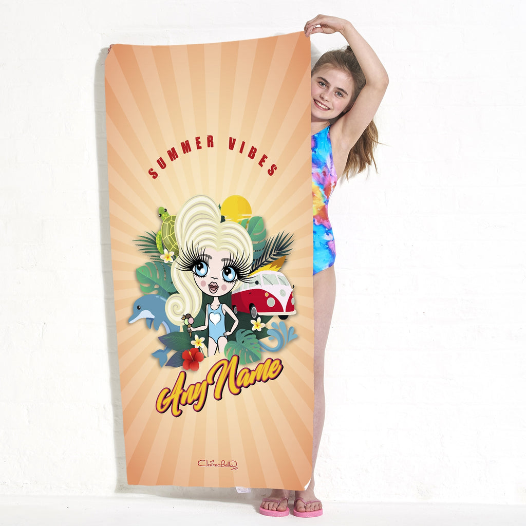 ClaireaBella Girls Summer Vibes Beach Towel - Image 2