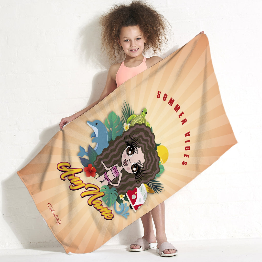 ClaireaBella Girls Summer Vibes Beach Towel - Image 1