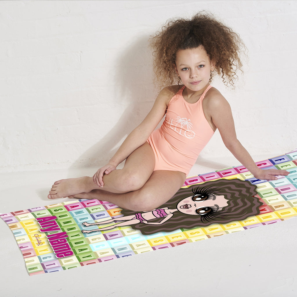 ClaireaBella Girls Word Search Beach Towel - Image 3