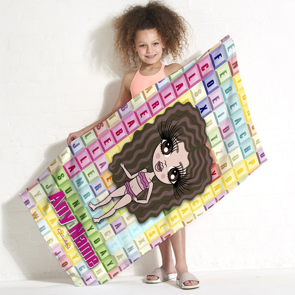 ClaireaBella Girls Word Search Beach Towel - Image 1