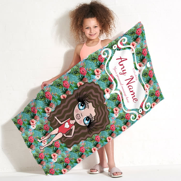 ClaireaBella Girls Hula Print Beach Towel - Image 1