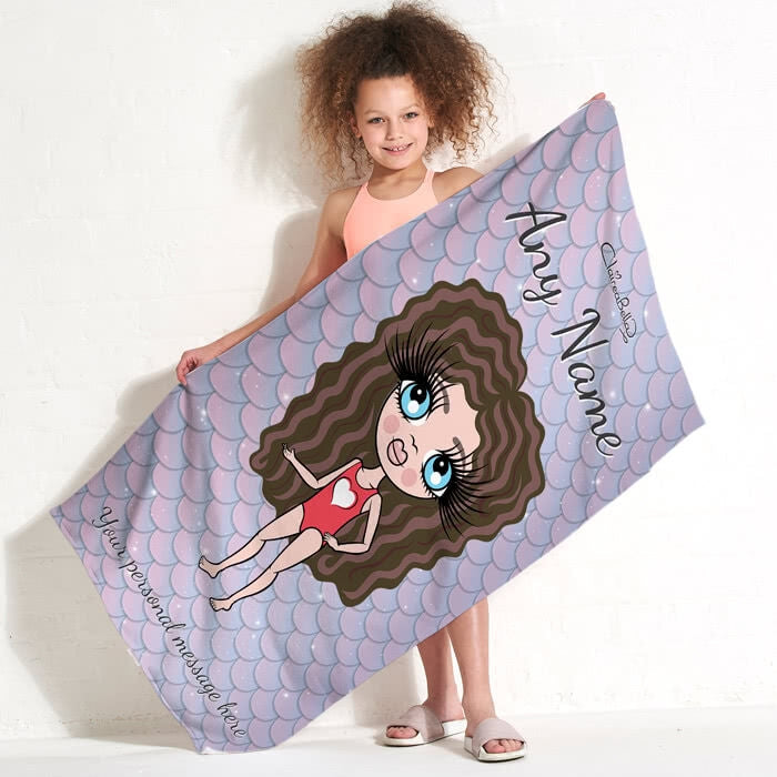 ClaireaBella Girls Mermaid Glitter Effect Beach Towel - Image 3