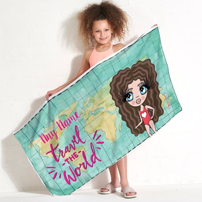 ClaireaBella Girls World Print Beach Towel - Image 1