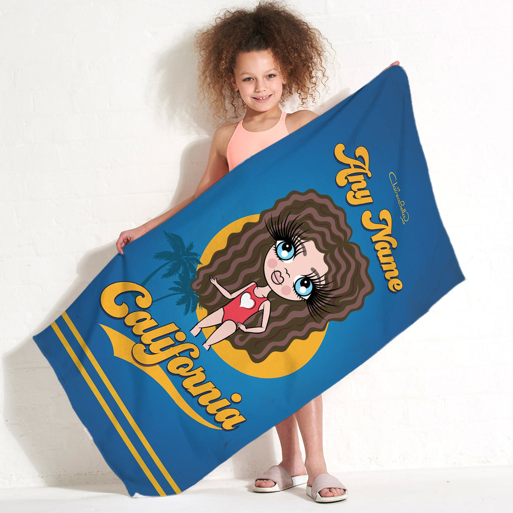 ClaireaBella Girls California Palms Beach Towel - Image 1