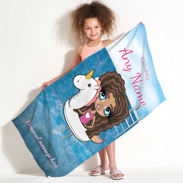 ClaireaBella Girls Unicorn Float Beach Towel - Image 1