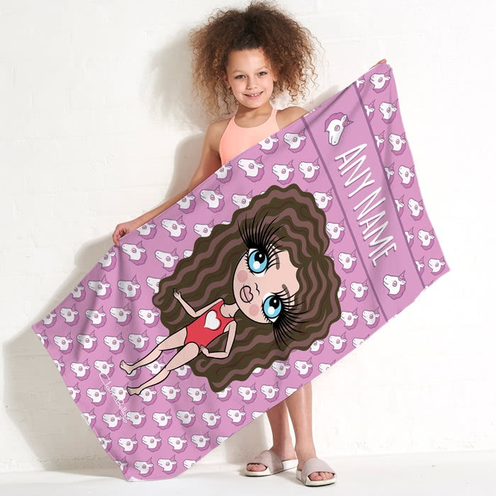 ClaireaBella Girls Unicorn Emoji Beach Towel - Image 1