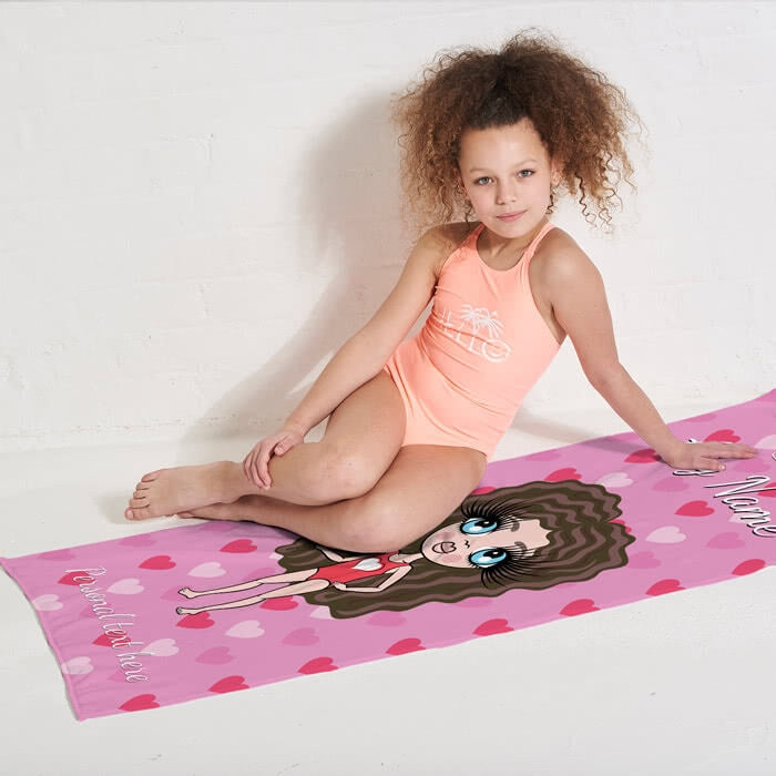 ClaireaBella Girls Hearts Beach Towel - Image 9