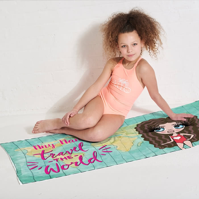 ClaireaBella Girls World Print Beach Towel - Image 9
