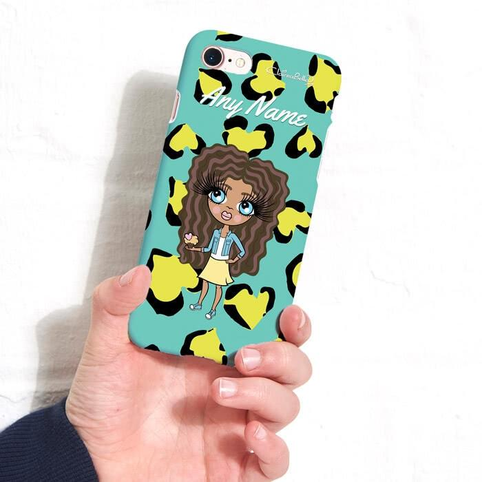 ClaireaBella Girls Personalized Heart Leopard Phone Case - Image 1