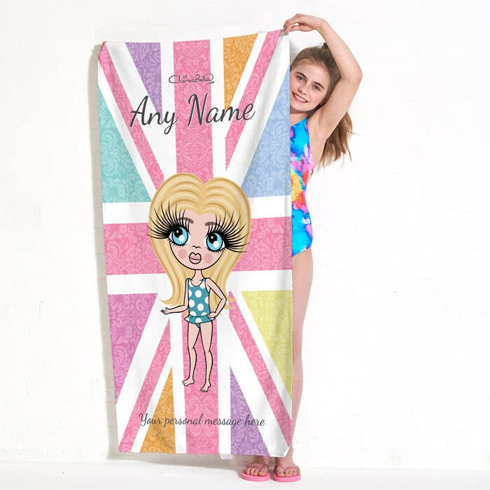 ClaireaBella Girls Union Jack Beach Towel - Image 1