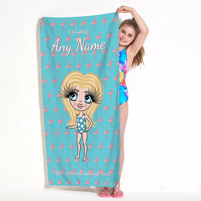 ClaireaBella Girls Flamingo Print Beach Towel - Image 1