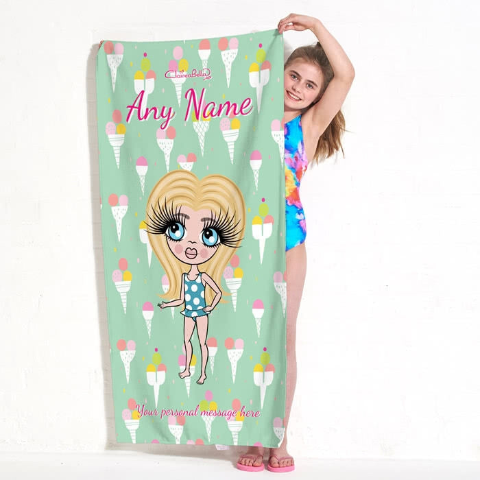 ClaireaBella Girls Ice Cream Beach Towel - Image 1