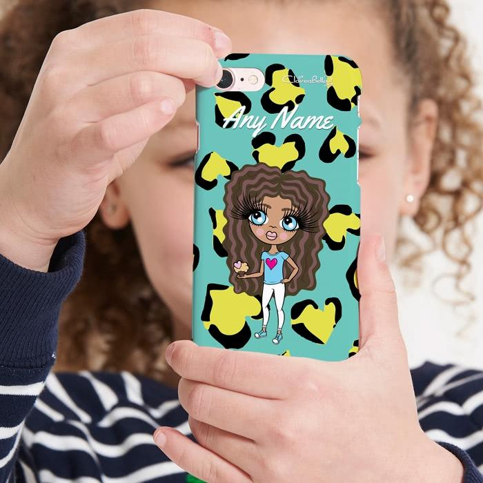 ClaireaBella Girls Personalized Heart Leopard Phone Case - Image 0