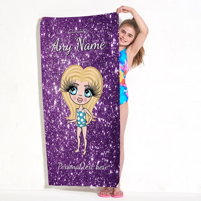 ClaireaBella Girls Glitter Effect Beach Towel - Image 5