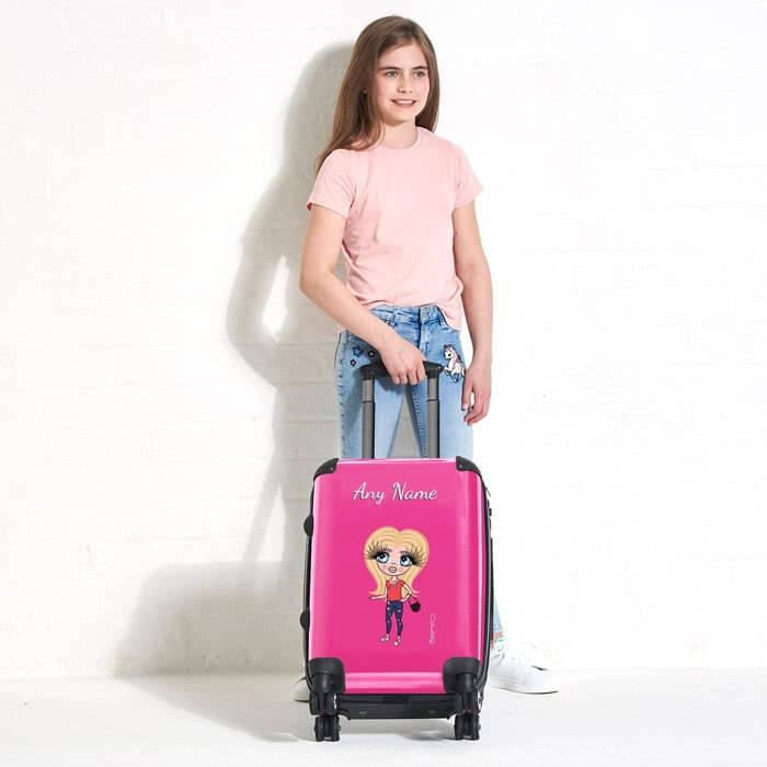 ClaireaBella Girls Hot Pink Suitcase - Image 1