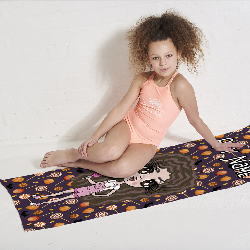 ClaireaBella Girls Spooky Sweet Treats Beach Towel - Image 2
