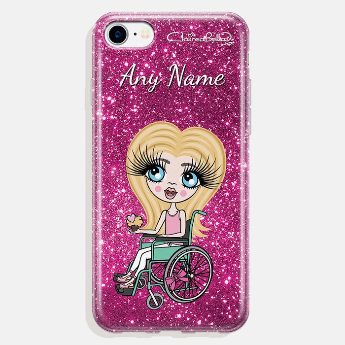 ClaireaBella Girls Wheelchair Personalized Glitter Effect Phone Case - Image 1