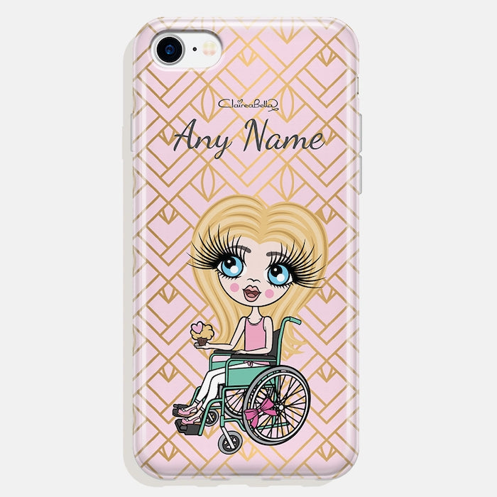 ClaireaBella Girls Wheelchair Personalized Gold Geo Print Phone Case - Image 4