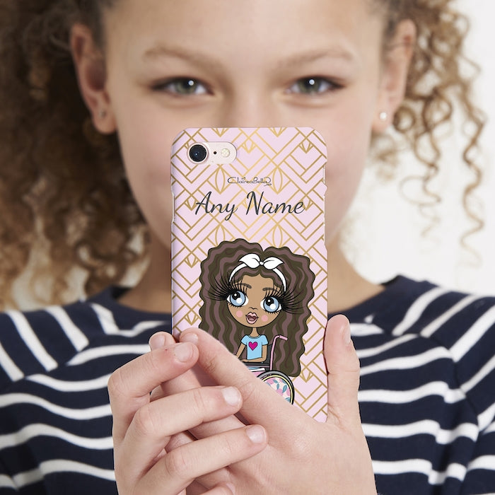 ClaireaBella Girls Wheelchair Personalized Gold Geo Print Phone Case - Image 2
