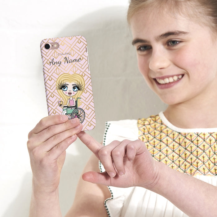 ClaireaBella Girls Wheelchair Personalized Gold Geo Print Phone Case - Image 3
