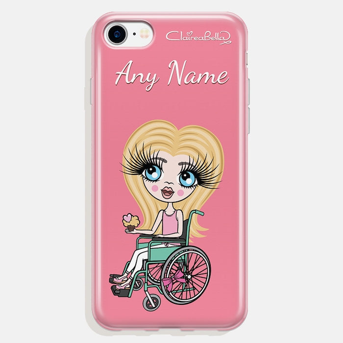 ClaireaBella Girls Wheelchair Personalized Pink Phone Case - Image 2