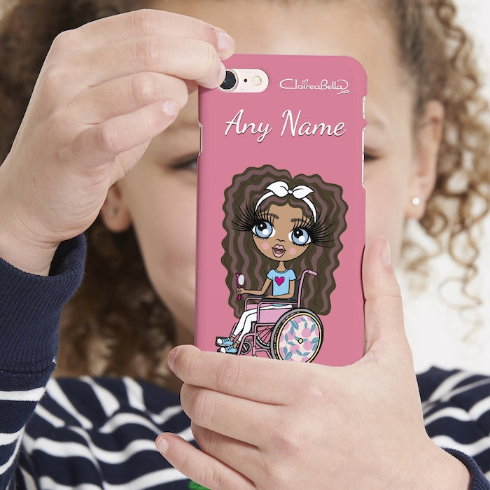 ClaireaBella Girls Wheelchair Personalized Pink Phone Case - Image 1
