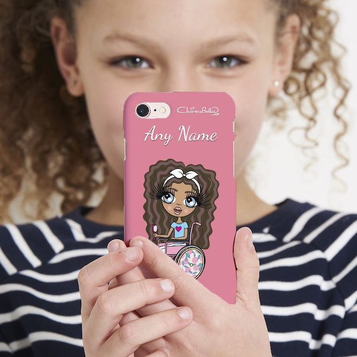 ClaireaBella Girls Wheelchair Personalized Pink Phone Case - Image 3