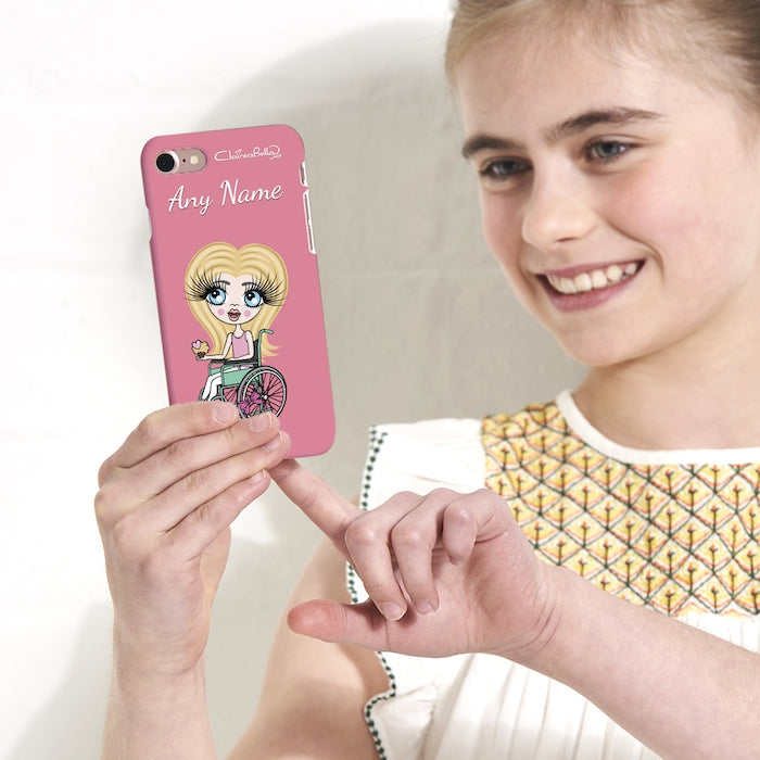 ClaireaBella Girls Wheelchair Personalized Pink Phone Case - Image 4