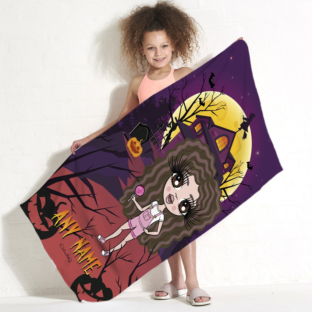ClaireaBella Girls Haunted House Beach Towel - Image 1