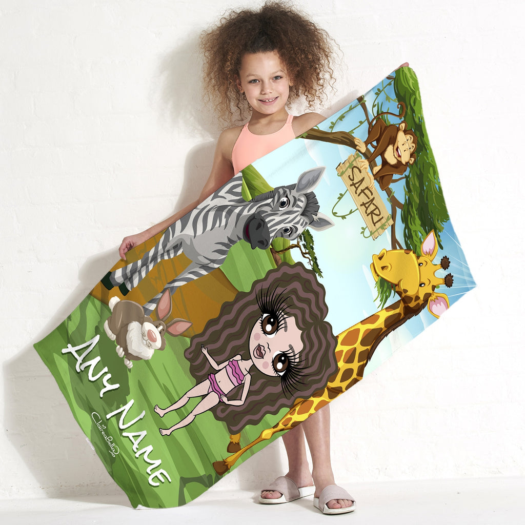 ClaireaBella Girls Safari Beach Towel - Image 1