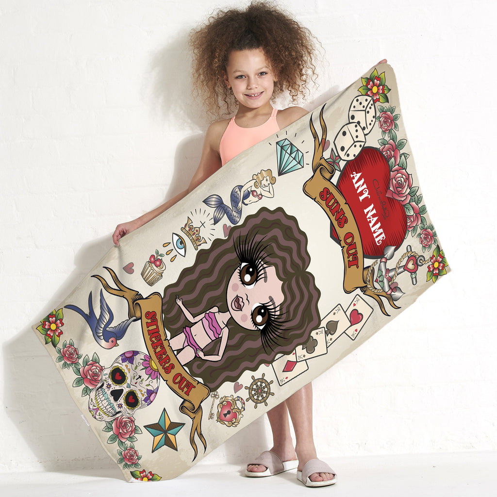 ClaireaBella Girls Tattoo Beach Towel - Image 1