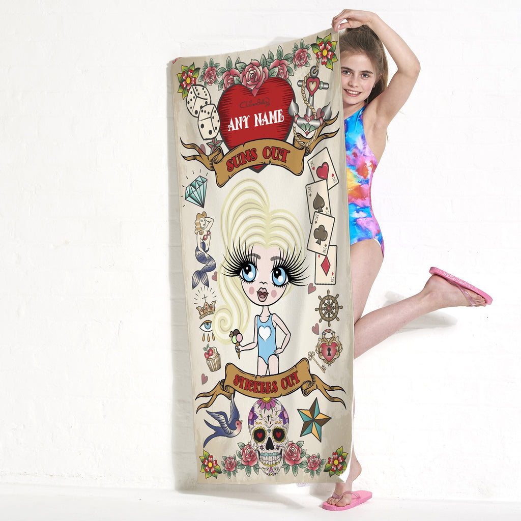 ClaireaBella Girls Tattoo Beach Towel - Image 2