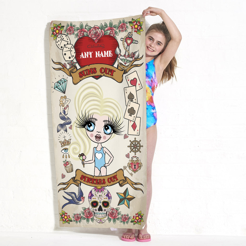 ClaireaBella Girls Tattoo Beach Towel - Image 5